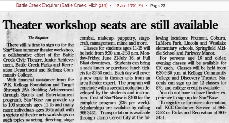 Star Base summer theatre workshop, Battle Creek Inquirer, 1999 06-18 p23